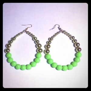 3/$15 Oversized neon green hoop earrings